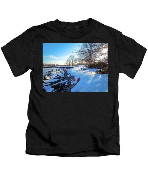 Glen Island Snowfall Kids T-Shirt