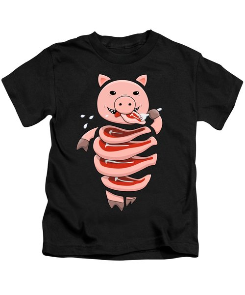 Gluttonous Self-eating Pig Kids T-Shirt