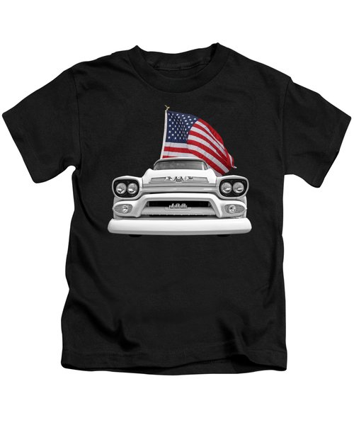 Gmc Pickup With Us Flag Kids T-Shirt