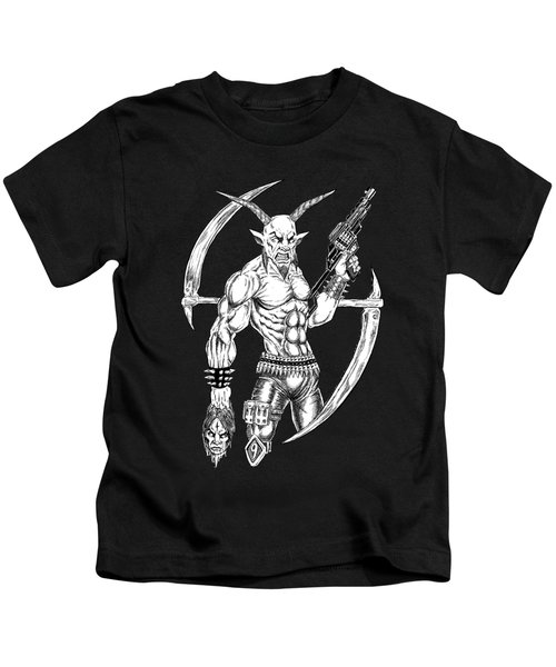 Goatlord Reaper Kids T-Shirt by Alaric Barca