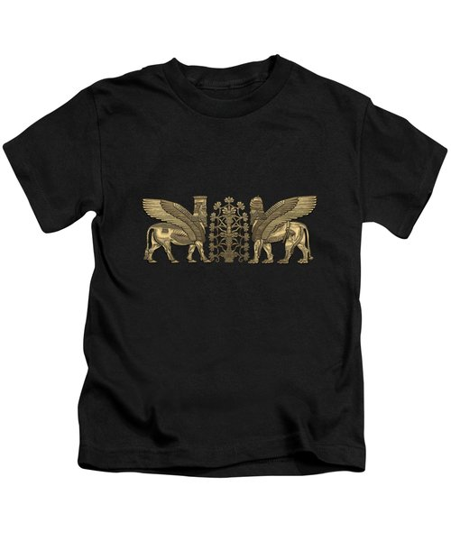 Gold Assyrian Winged Lion And Winged Bull - Lumasi With Tree Of Life Over Black Canvas Kids T-Shirt