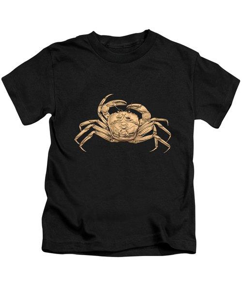 Gold Crab On Black Canvas Kids T-Shirt