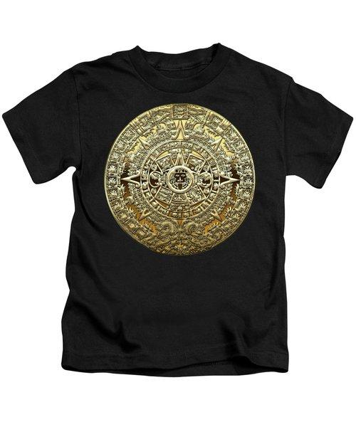 Gold Mayan-aztec Calendar On Brown Leather Kids T-Shirt