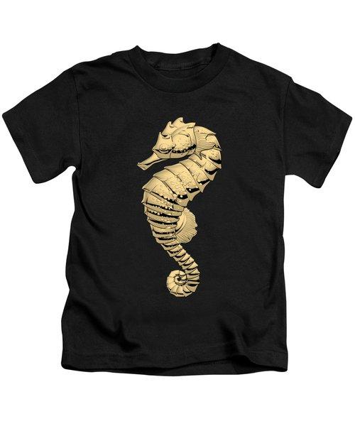 Gold Seahorse On Black Canvas Kids T-Shirt by Serge Averbukh