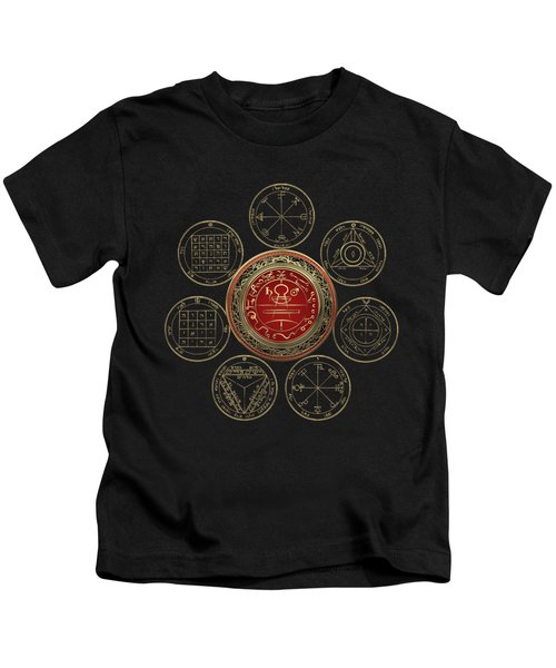 Gold Seal Of Solomon Over Seven Pentacles Of Saturn On Black Canvas  Kids T-Shirt