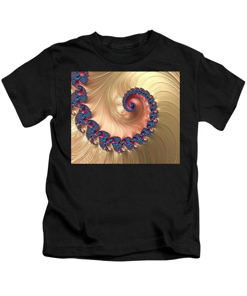 Gold Spiral With Passion Abstract Kids T-Shirt