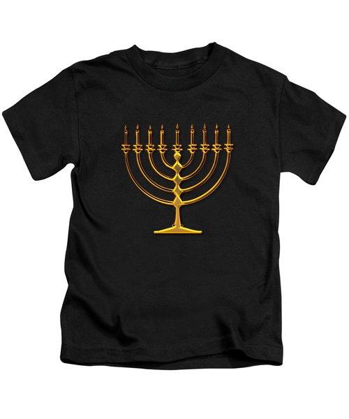 Golden 3-d Look Menorah  Kids T-Shirt by Rose Santuci-Sofranko