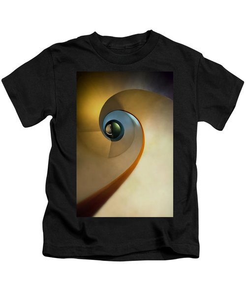 Golden And Brown Spiral Staircase Kids T-Shirt