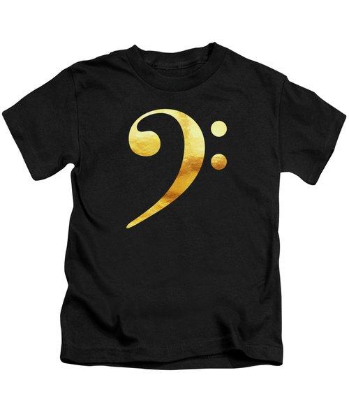Golden Baseline Beat Bass Clef Music Symbol Kids T-Shirt