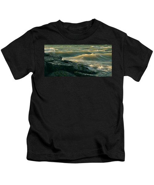 Golden Capped Sunset Waves Of Lake Michigan Kids T-Shirt
