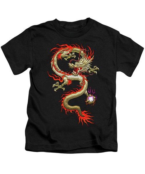 Golden Chinese Dragon Fucanglong On Black Silk Kids T-Shirt by Serge Averbukh