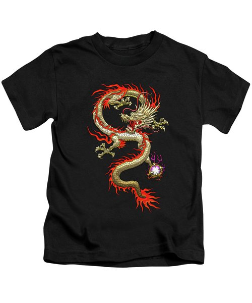 Golden Chinese Dragon Fucanglong On Red Silk Kids T-Shirt