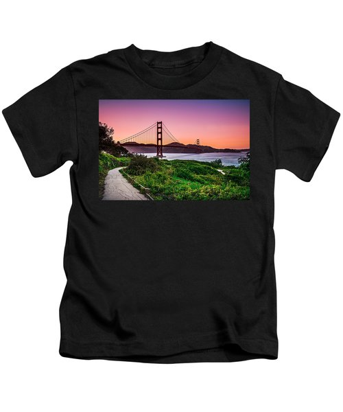 Golden Gate Bridge San Francisco California At Sunset Kids T-Shirt