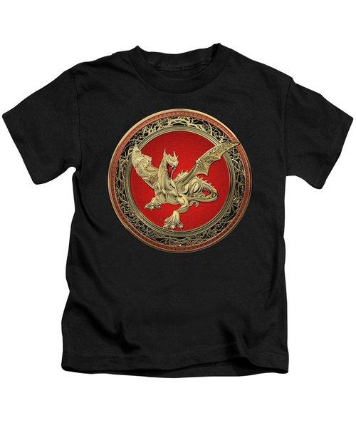 Golden Guardian Dragon Over Black Velvet Kids T-Shirt