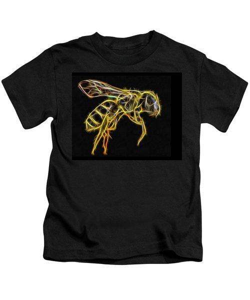 Golden Honey Bee Fractalized Kids T-Shirt