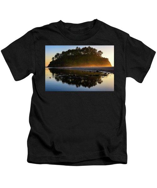 Golden Hour Haze At Proposal Rock Kids T-Shirt