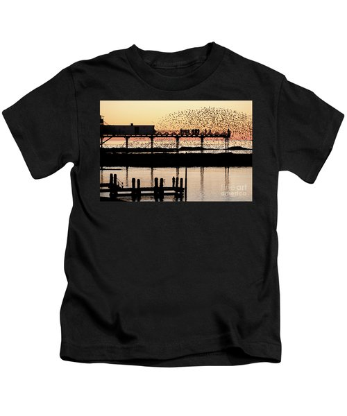 Golden Hour Starlings In Aberystwyth Kids T-Shirt