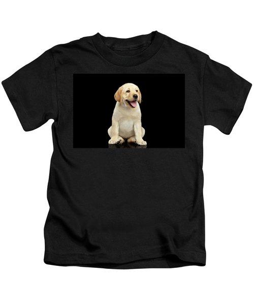 Golden Labrador Retriever Puppy Isolated On Black Background Kids T-Shirt