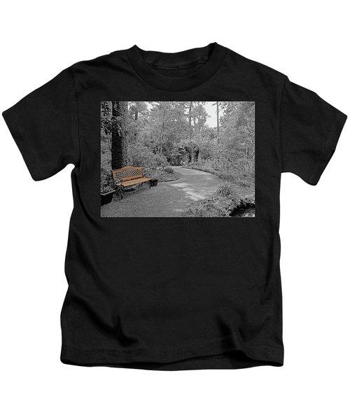 Golden Park Bench Along The Gardens Walkway Kids T-Shirt