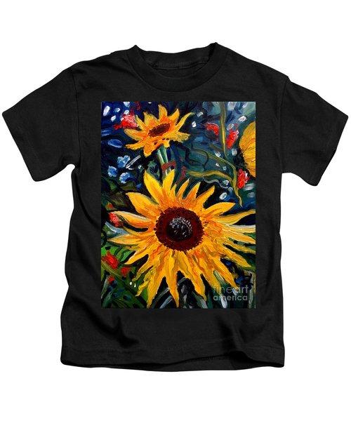 Golden Sunflower Burst Kids T-Shirt