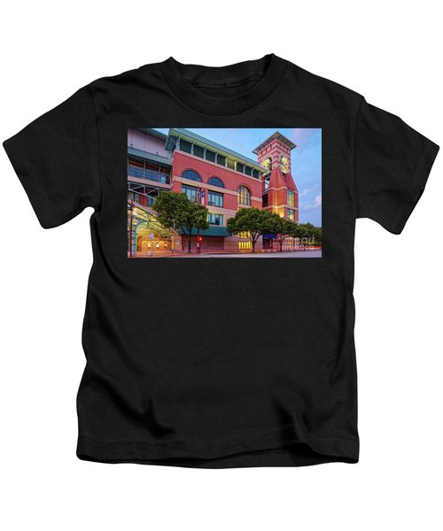 Golden Sunset Glow On The Facade Of Minute Maid Park - Downtown Houston Harris County Texas Kids T-Shirt