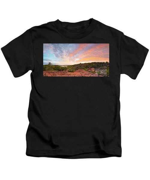 Granite Hills Of Inks Lake State Park Against Fiery Sunset - Burnet County Texas Hill Country Kids T-Shirt