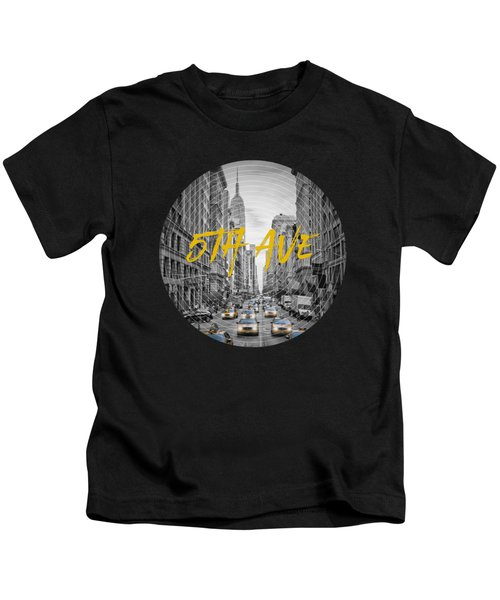 Graphic Art Nyc 5th Avenue Kids T-Shirt by Melanie Viola