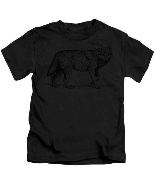 Gray Wolf Timber Wolf Western Wolf Woods Texture Kids T-Shirt