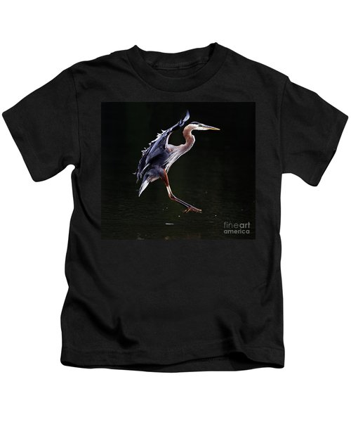 Great Blue Heron On The Wing Kids T-Shirt
