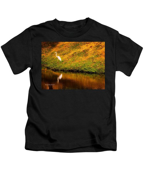 Great Egret At The Lake Kids T-Shirt