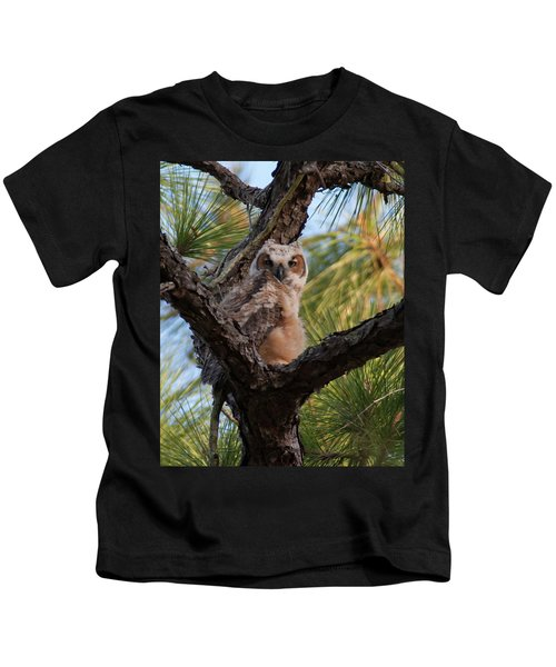 Great Horned Owlet Kids T-Shirt