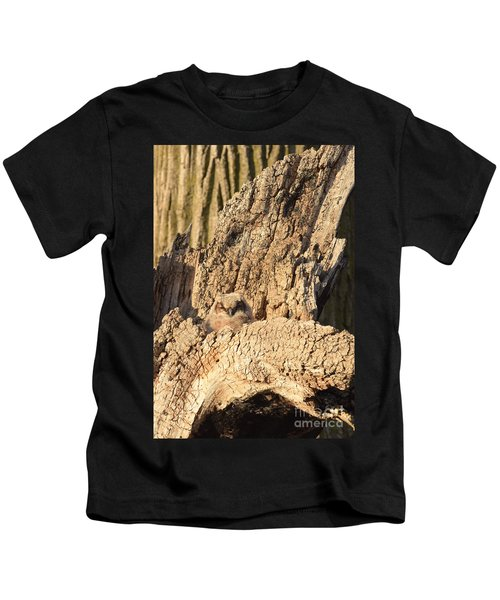 Great Horned Owlet Two Kids T-Shirt