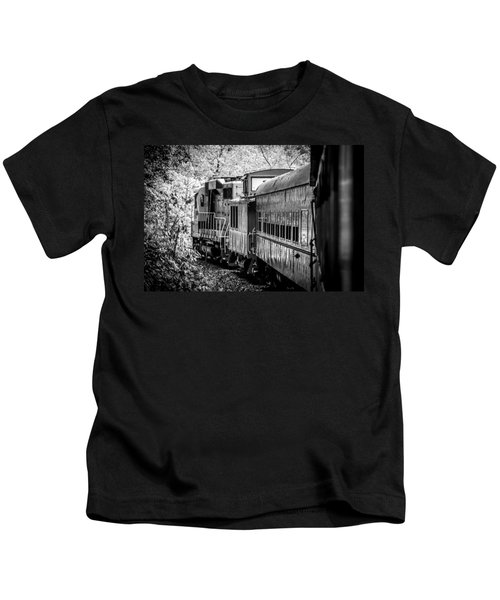 Great Smokey Mountain Railroad Looking Out At The Train In Black And White Kids T-Shirt