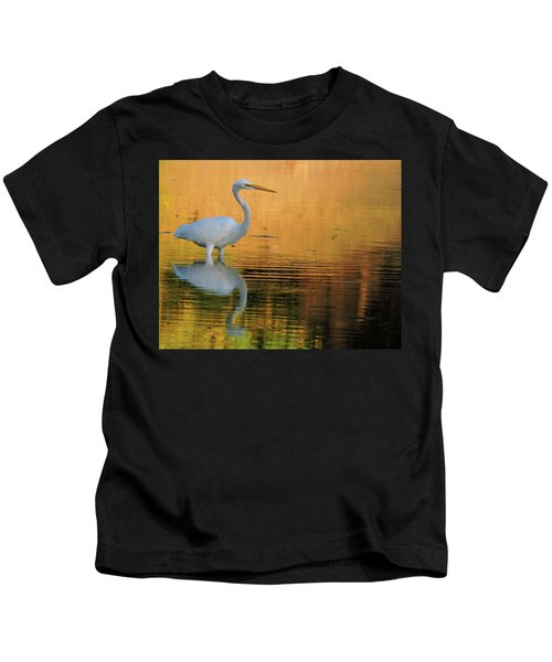 Great White On Gold Kids T-Shirt