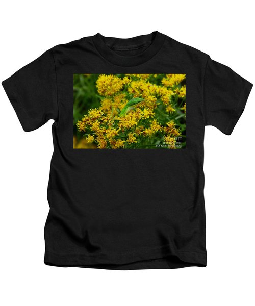Green Anole Hiding In Golden Rod Kids T-Shirt