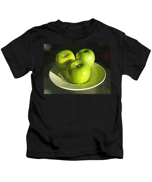 Green Apples In A White Bowl Kids T-Shirt