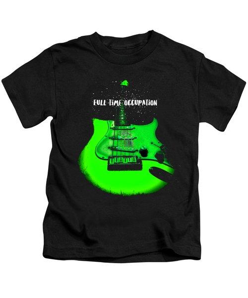 Green Guitar Full Time Occupation Kids T-Shirt