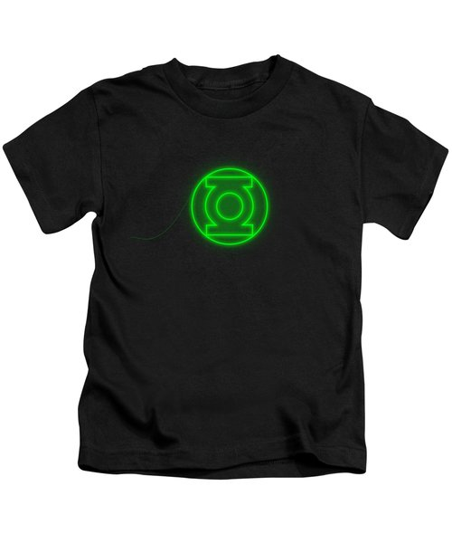 Green Lantern In Neon Style Kids T-Shirt