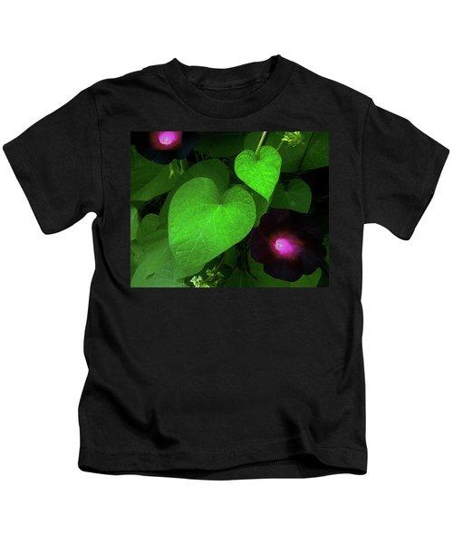 Green Leaf Violet Glow Kids T-Shirt
