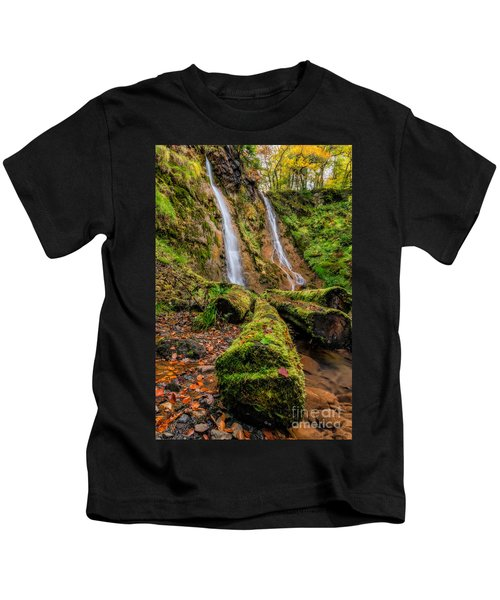 Grey Mares Tail Waterfall Kids T-Shirt