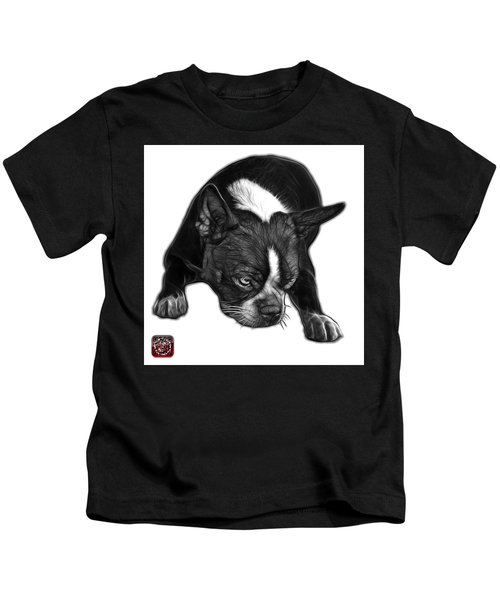 Greyscale Boston Terrier Art - 8384 - Wb Kids T-Shirt