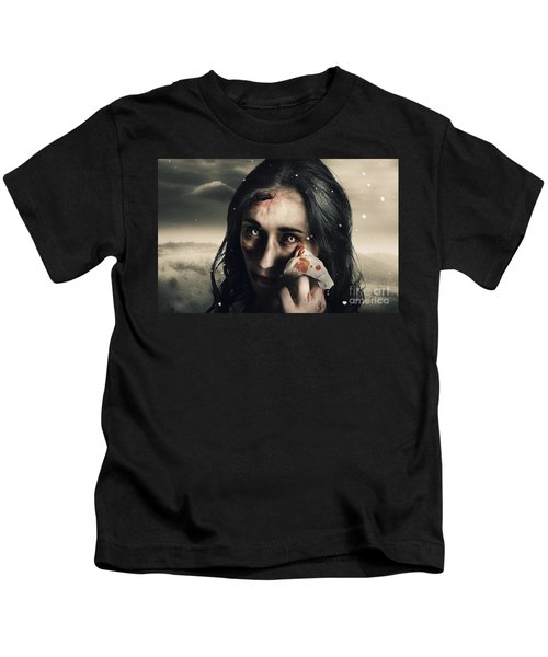 Grim Face Of Horror Crying Tears Of Blood Kids T-Shirt