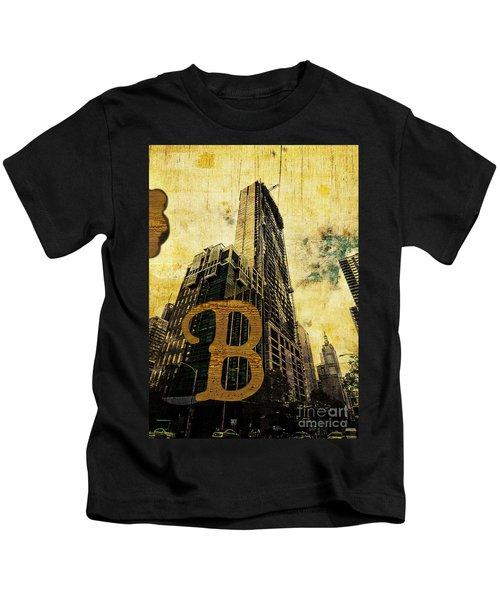 Grungy Melbourne Australia Alphabet Series Letter B Central Busi Kids T-Shirt