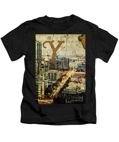 Grungy Melbourne Australia Alphabet Series Letter Y Yarra River Kids T-Shirt