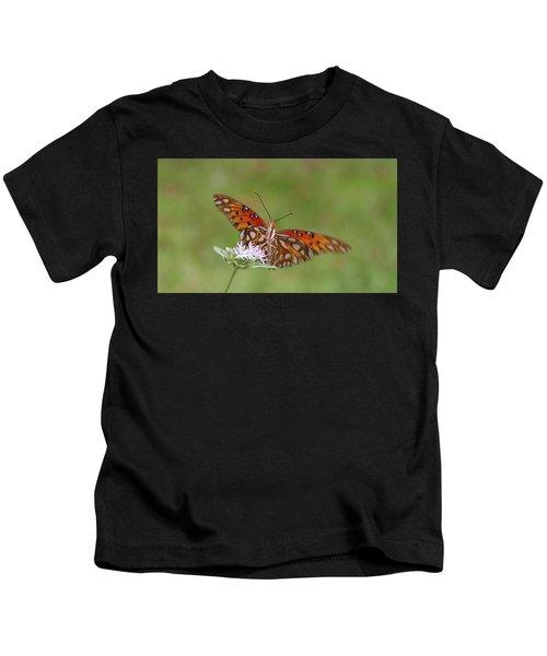 Gulf Fritillary On Elephantsfoot Kids T-Shirt