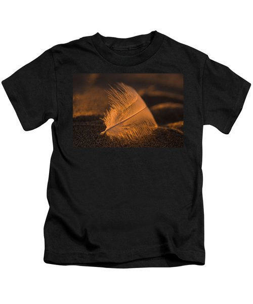 Gull Feather At Sunset Kids T-Shirt