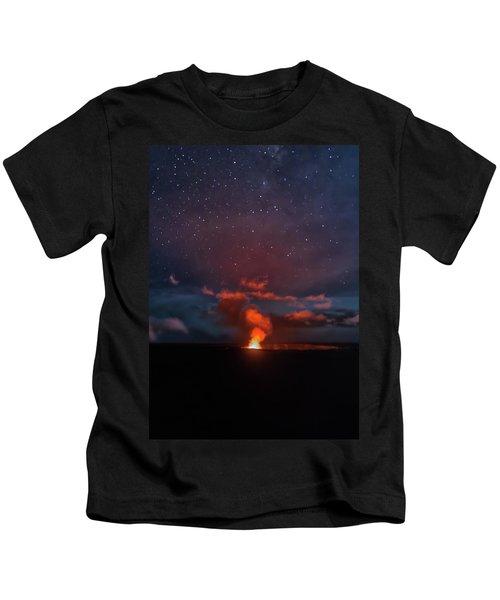 Halemaumau Crater At Night Kids T-Shirt