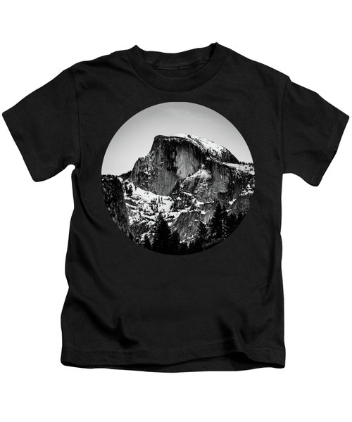 Half Dome Aglow, Black And White Kids T-Shirt