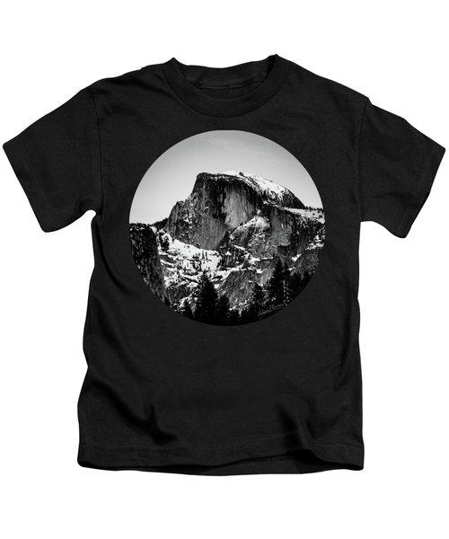 Half Dome Aglow, Black And White Kids T-Shirt