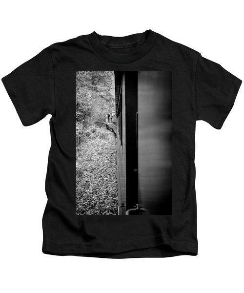 Half In Half Out Of The Train In The Mountains Kids T-Shirt
